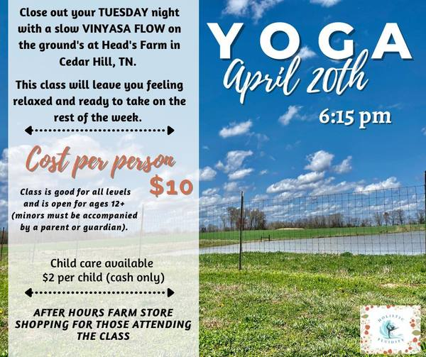 Child care available & enjoy some outdoor yoga!   April 20th @ 6:15pm