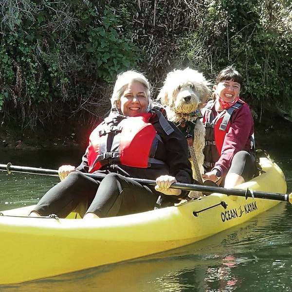 Johnny Cash, who belongs to loyal reader Erin (right), partakes in all outdoor activities but enjoys kayaking the most. She thanks loyal reader Dawn (left) for her supportive coaching. Want your pet to appear in The Highlighter? hltr.co/pets
