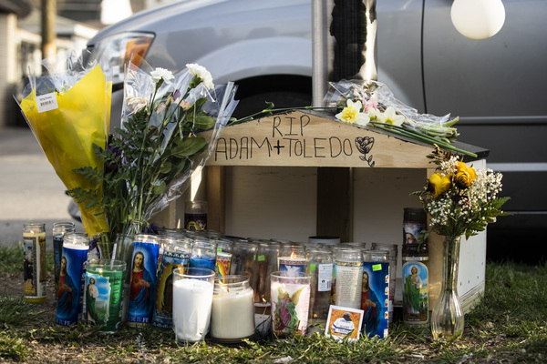 A memorial for 13-year-old Adam Toledo sits near the location of the shooting at West 24th Street and South Sawyer Avenue in Little Village on Monday afternoon. | Ashlee Rezin Garcia/Sun-Times
