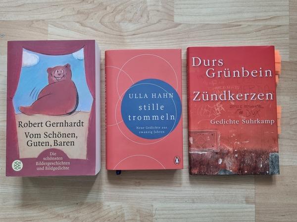 Lektüre-Tipps: Gedichte von Robert Gernhardt, Ulla Hahn und Durs Grünbein. Foto: Sarah Kugler