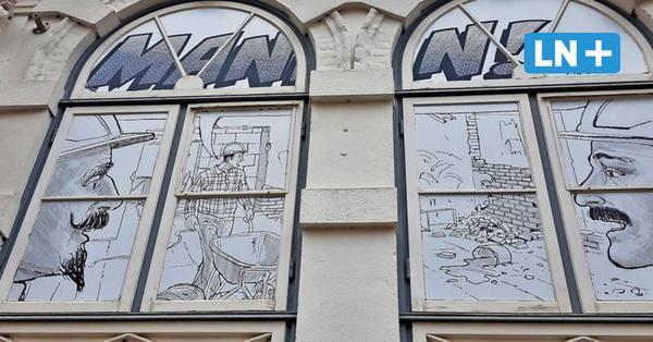 Lübeck: Comic an der Baustelle Buddenbrookhaus erzählt von Mann-Brüdern