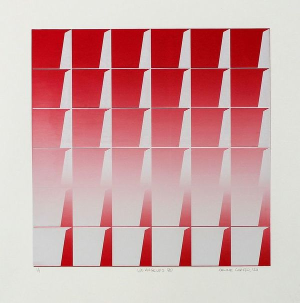 Kaline Carter, Los Angeles 80, monoprint, 15 x 15 in.