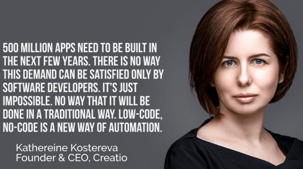 Katherine Kostereva of Creatio: Low-code No-code Platforms are the Answer to the Growing Automation Challenge - Small Business Trends