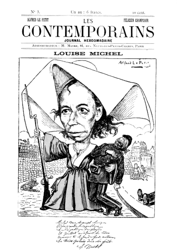 Louise Michel caricaturée par Alfred Le Petit en nonne héroïque et secourable.
