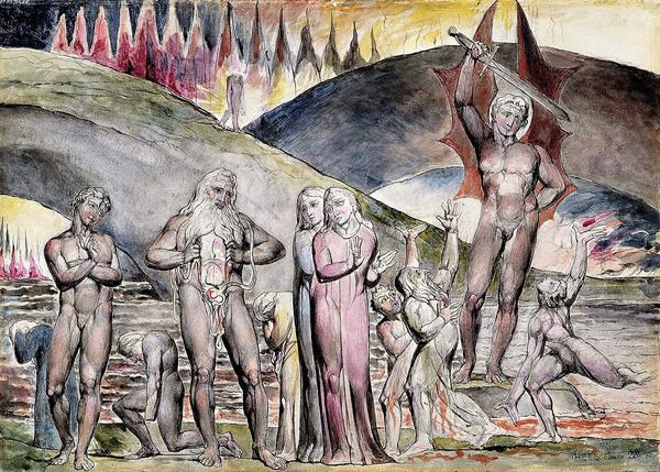 La rencontre entre Dante et Mahomet aux Enfers, illustrée par W. Blake.