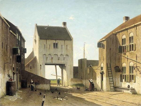'Een stadspoort in Leerdam' ca. 1868 - olieverf op doek: Jan Weissenbruch (herkomst: coll. Rijksmuseum Amsterdam)