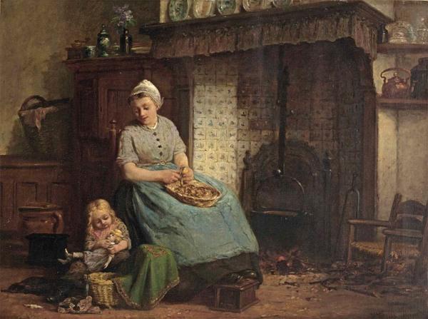 'Peeling the potatoes' - olieverf op doek: Hendrik Valkenburg (voorm. coll. Christie's Amsterdam)
