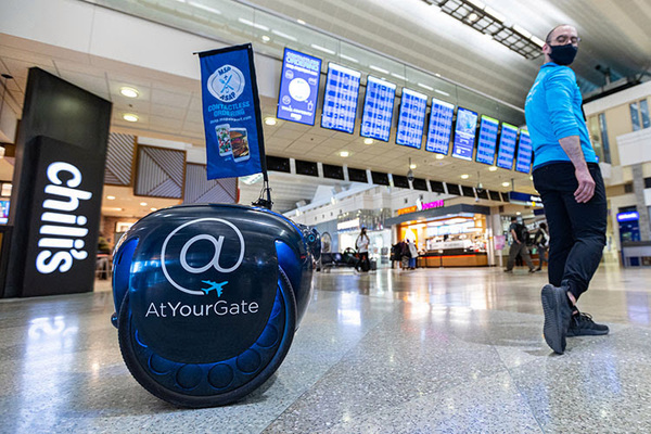 Now docking at Terminal 1. Robot delivers takeout orders at MSP International Airport – Twin Cities