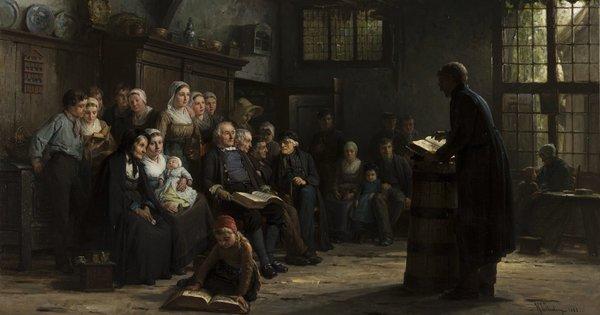 'Een stichtelijk uurtje in den Achterhoek' 1883 - olieverf op doek: Hendrik Valkenburg (herkomst: coll. Museum Catharijneconvent, Utrecht)