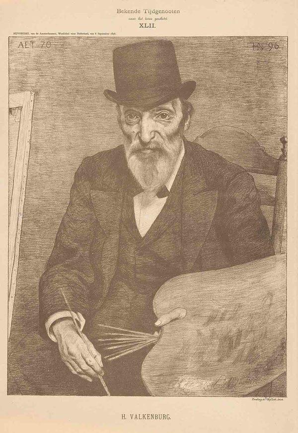 Een portret van kunstenaar Hendrik Valkenburg, door Ferdinand Hart Nibbrig voor de serie 'Bekende tijdgenoten' (herkomst: coll. Rijksmuseum Amsterdam)