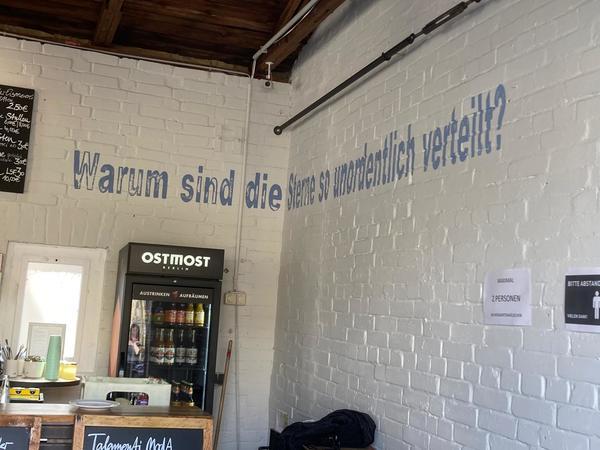 Ja, warum nur? Vielleicht hat Lena Mauer im Fabrikgarten eine Antwort auf die Frage, die sie selbst an der Wand aufwirft. Foto: Saskia Kirf