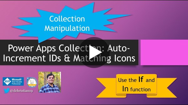 Power Apps Collection: Auto-increment ID & matching icons