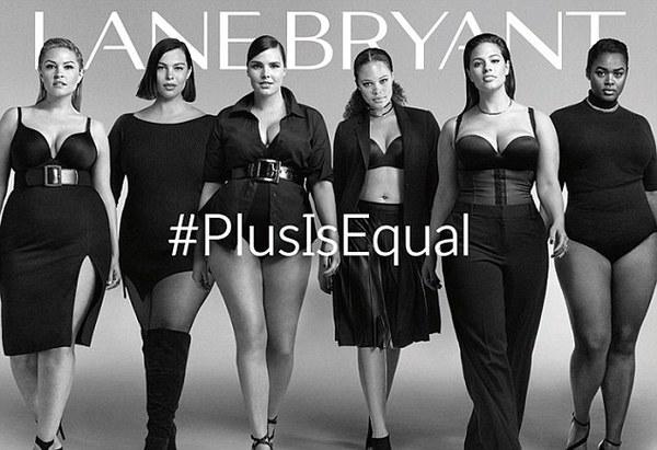 Lane Bryant ad, #PlusIsEqual