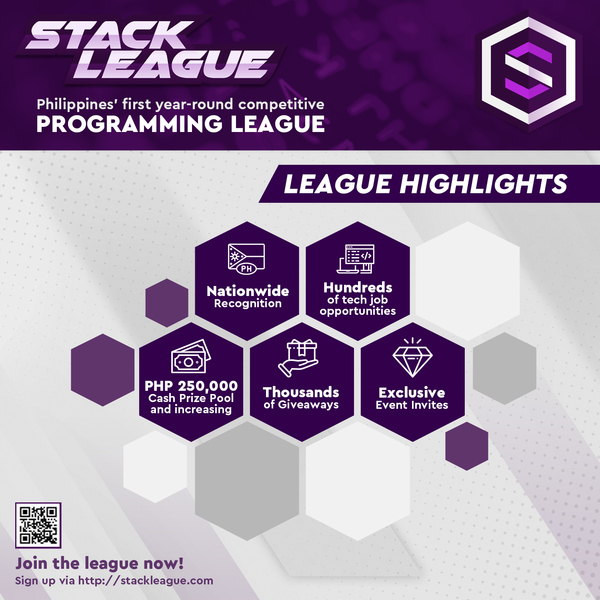 The Philippines' 1st Year-Round Programming Competition is still accepting participants! Test your knowledge in programming fundamentals and climb to the top levels through StackLeague! The country's 1st and biggest pioneering programmer league aim to gather tech talents across the country to test their coding acuity with the promise of nationwide recognition, PHP 250,000 cash prize pool, thousands of giveaways and invitation-only events.