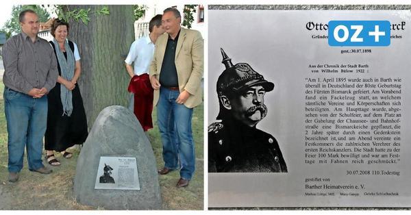 Barth: Erinnerungstafel am Bismarck-Gedenkstein weg