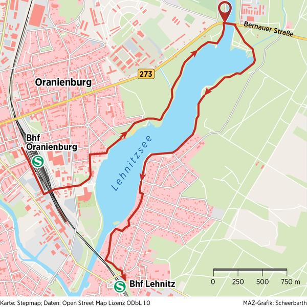 Die Wanderung führt immer am Lehnitzsee entlang.