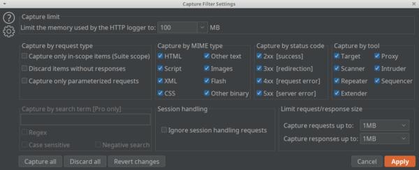 Logger Capture Filter Settings