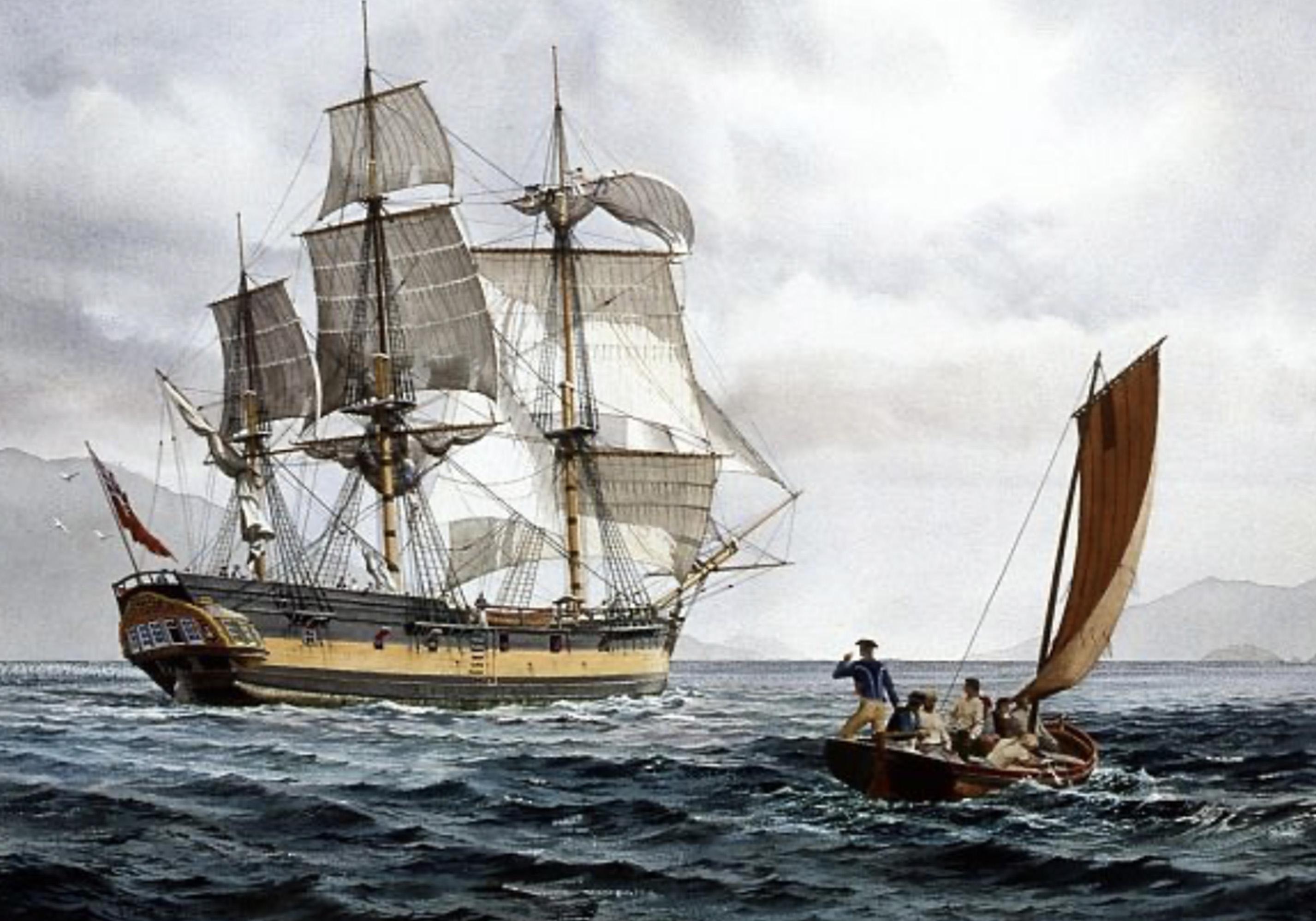 Le Discovery, vaisseau de Vancouver pendant son voyage de 1791 (droits réservés)