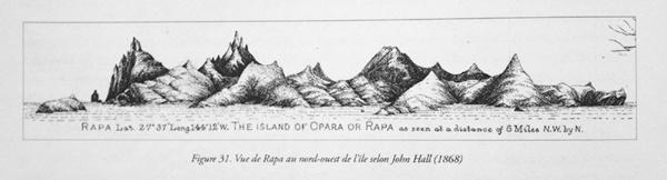 Vue de Rapa au nord-ouest de l'île, selon John Hall (1868) © Api Tahiti éditions - Ginkgo éditeur