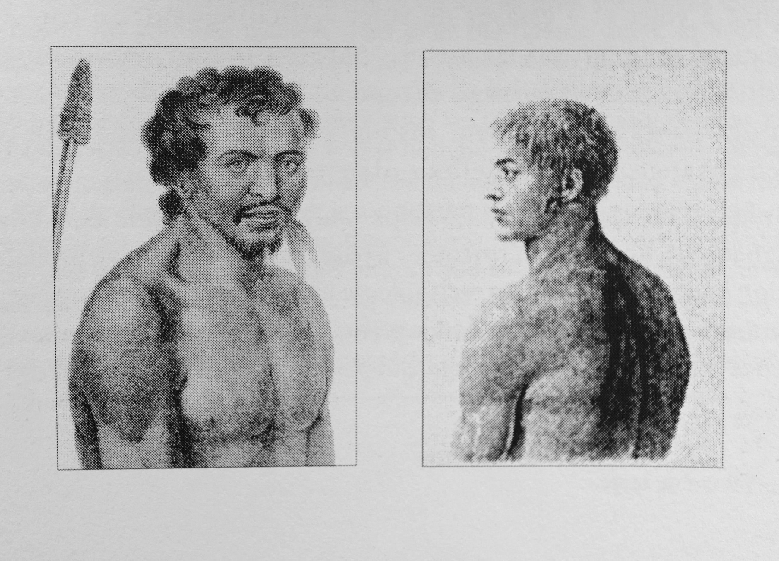 Croquis d'un natif et d'un métis de Rapa par Paul Makhailov (1820) lors de l'expédition russe de FG Bellinghausen © Api Tahiti éditions - Ginkgo éditeur