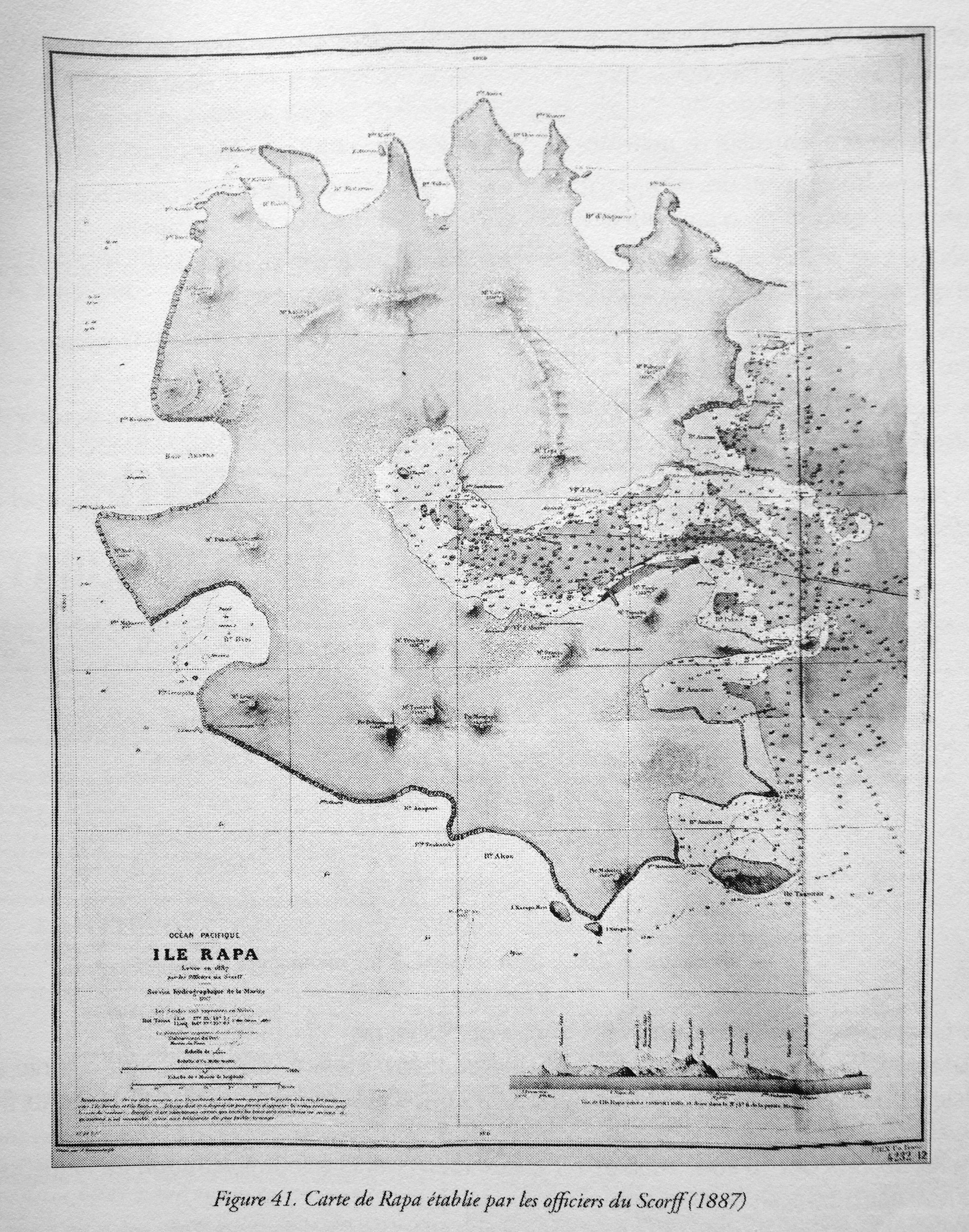 Carte de Rapa établie par les officiers du Score (1887) © Api Tahiti éditions - Ginkgo éditeur