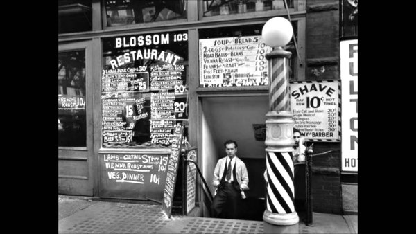 "Bernice Abbott, ""Blossom Restaurant, 103 Bowery between Grand and Hester Streets"", taken on 24 October 1935."