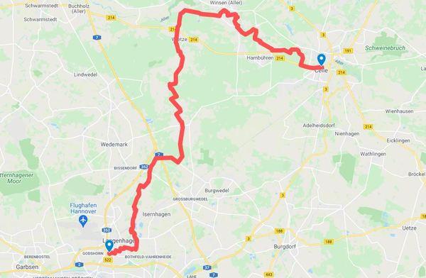 Über 59 Kilometer geht es von Langenhagen nach Celle. (HAZ-Grafik: Llorens | Google Maps)