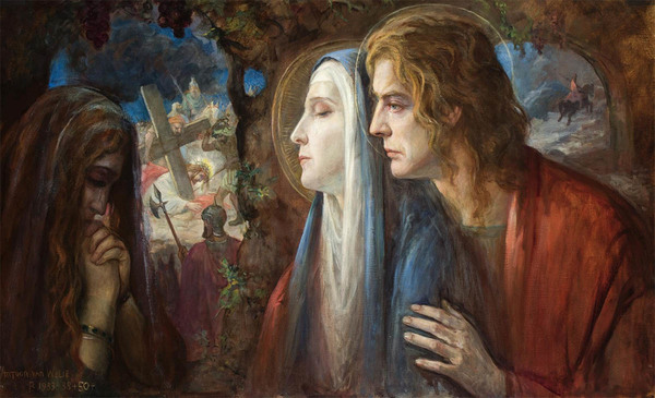'De drie getrouwen, met Christus op de achtergond, Maria, Maria Magdalena en Johannes de Evangelist voor de Bewening' 1933-38 + 50 - olieverf op doek: Antoon van Welie (Veilinghuis Van Spengen kavel 1289)