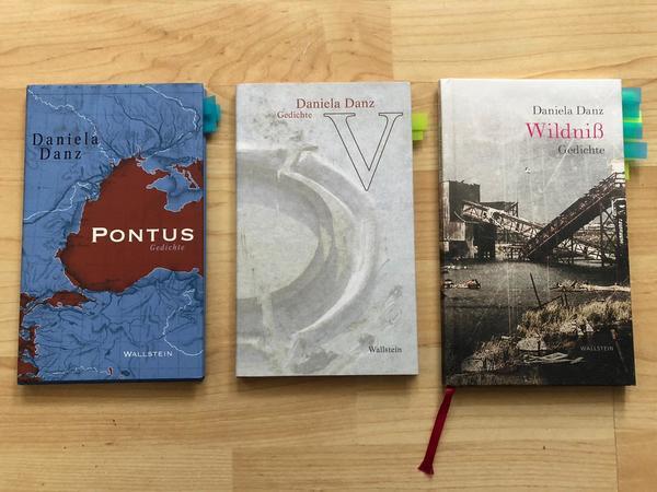 Drei Lyrikbände von Daniela Danz. Foto: Sarah Kugler