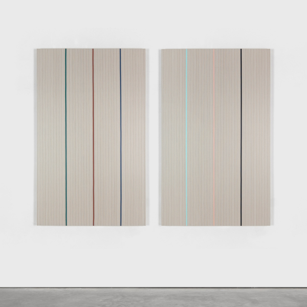 Vincenzo Merola, 6 Dice Rolls and 154 Fixed Stripes, 2020, Pigments, chalk and acrylic on linen 130×172 cm (2 parts 130×80 cm each)