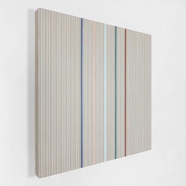 Vincenzo Merola, 55 Coin Flips and 5 Fixed Stripes, 2020, Pigments, chalk and acrylic on linen 60×60 cm