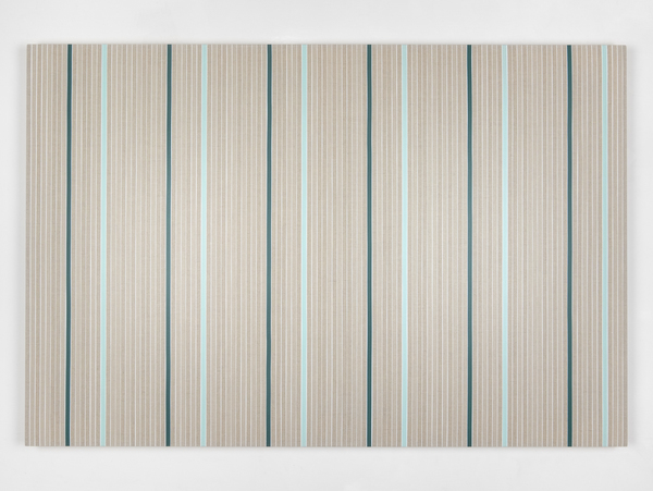 Vincenzo Merola, 108 Coin Flips and 12 Fixed Stripes, 2020 ,Pigments, chalk and acrylic on linen 80×120 cm