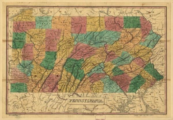 1829 map of Pennsylvania. (Library of Congress)