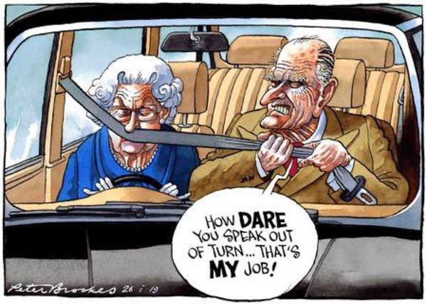 Caricature par Peter Brooks (humour anglais intraduisible).