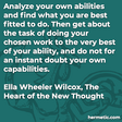"""""""Analyze your own abilities and find what you are best fitted to do. Then get about the task of doing your chosen work to the very best of your ability, and do not for an instant doubt your own capabilities."""""""