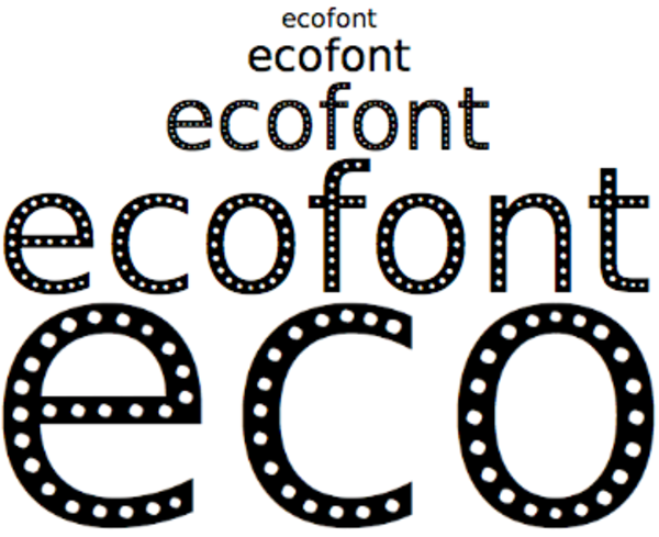 Ecofont's takes ink traps to a different level; to make holes