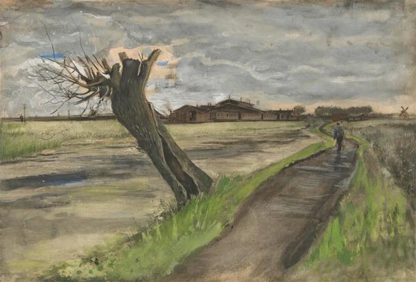 'Knotwilg' 1882 - potlood, inkt, waterverf, krijt, op papier: Vincent van Gogh (herkomst: coll. Van Gogh Museum, Amsterdam)