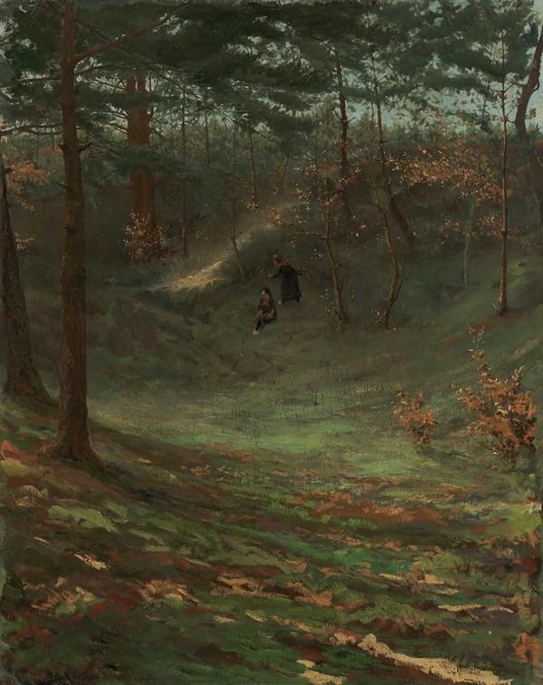 'Boslandschap' - olieverf op doek: Maurits Lapidoth (herkomst: coll. Gemeente Nunspeet, Noord-Veluws Museum)