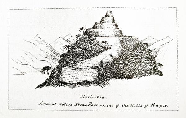Pare Markatea selon John Hall (1868). In Rapa une île du Pacifique dans l'histoire. © Api Tahiti éditions / Ginkgo Editeur, 2016.