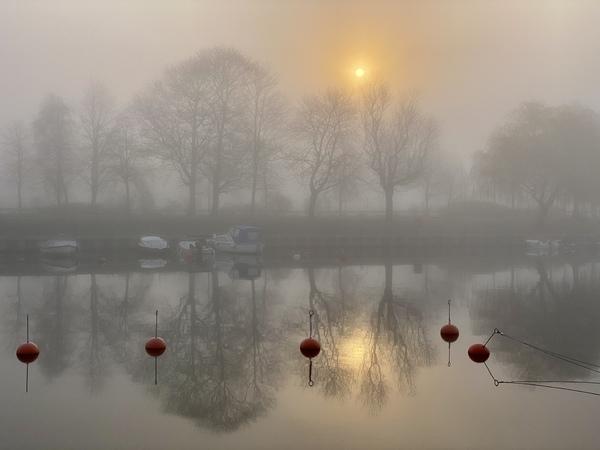 Der Alte Strom in Warnemünde am Morgen im Nebel (Foto: Marina Kirchhoff)