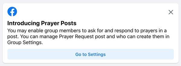 Así se vería el mensaje primario sobre la nueva función en Facebook