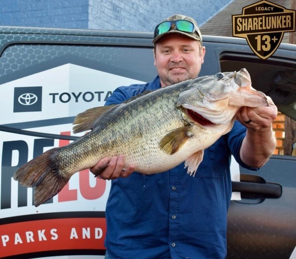 James Crawford caught this 15.44-pound bass in March on Lake Tyler in Texas.