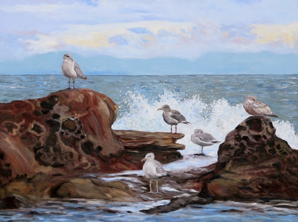 """""""A Gull's Day"""" by Terrill Welch, 30 x 40 inch walnut oil on canvas."""