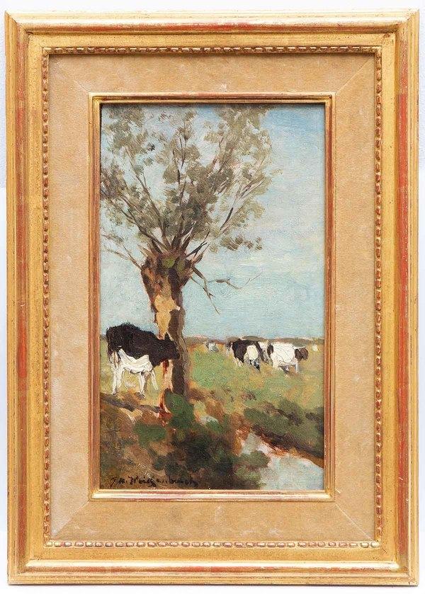 'Cows in a polder landscape' - marouflé: Johan Hendrik Weissenbruch (lot 66, Old Master Paintings, 19th Century & Early Modern Art - zaalveiling, Venduehuis Den Haag)