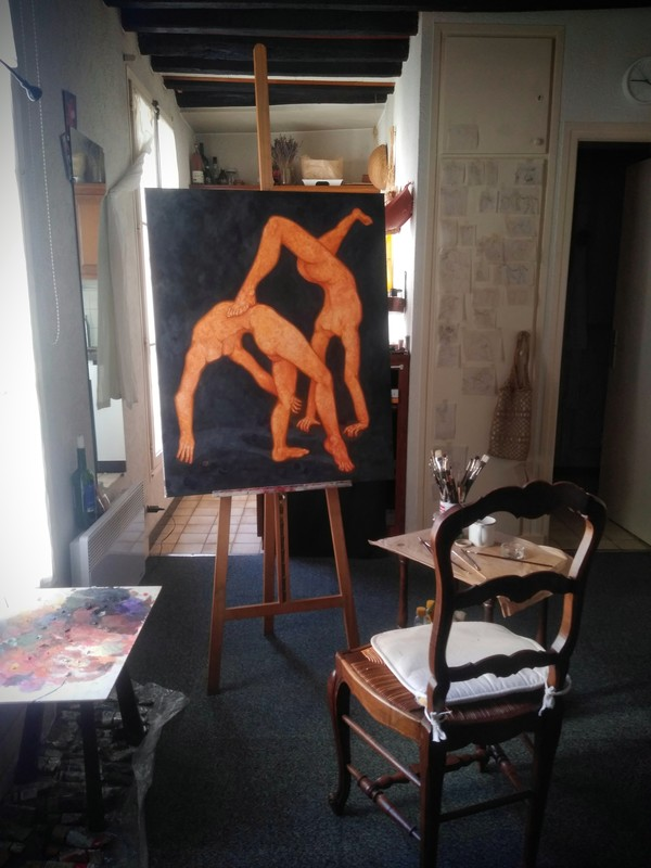 """Paulina Litwin, a painting from """"Body movements"""" series photographed in the studio"""