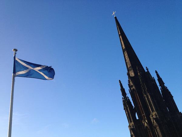 the Saltire flying over Edinburgh