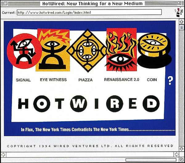线上的第一批主要出版物之一 HotWired