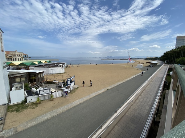 百道浜 近くでビーチバレーを楽しんでいる人たちが居ました
