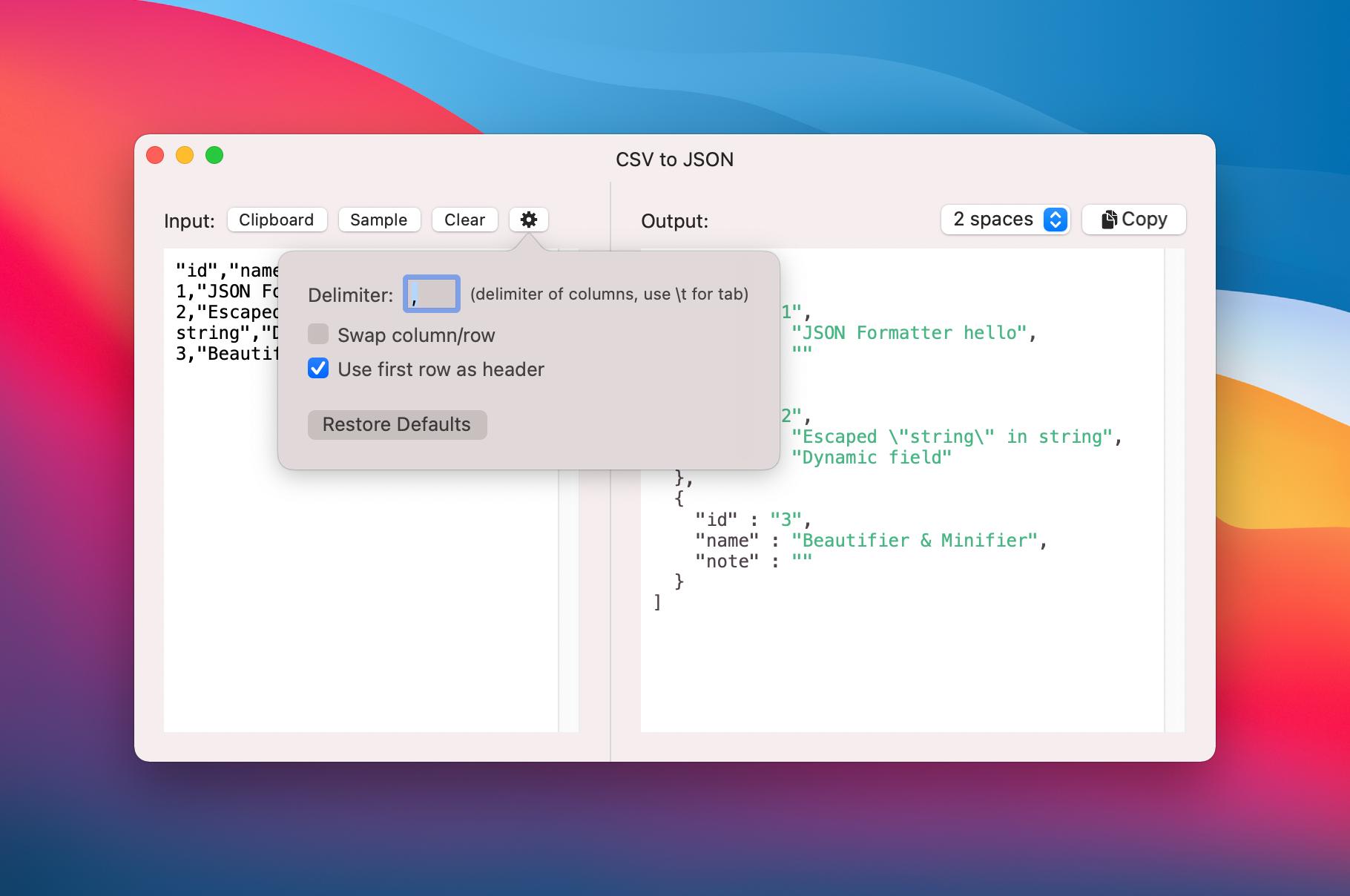 CSV to JSON convert options