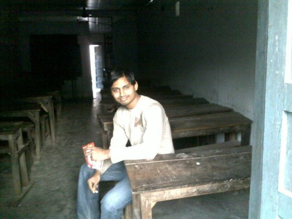 Photo taken when Manoj visited the school used to go to.